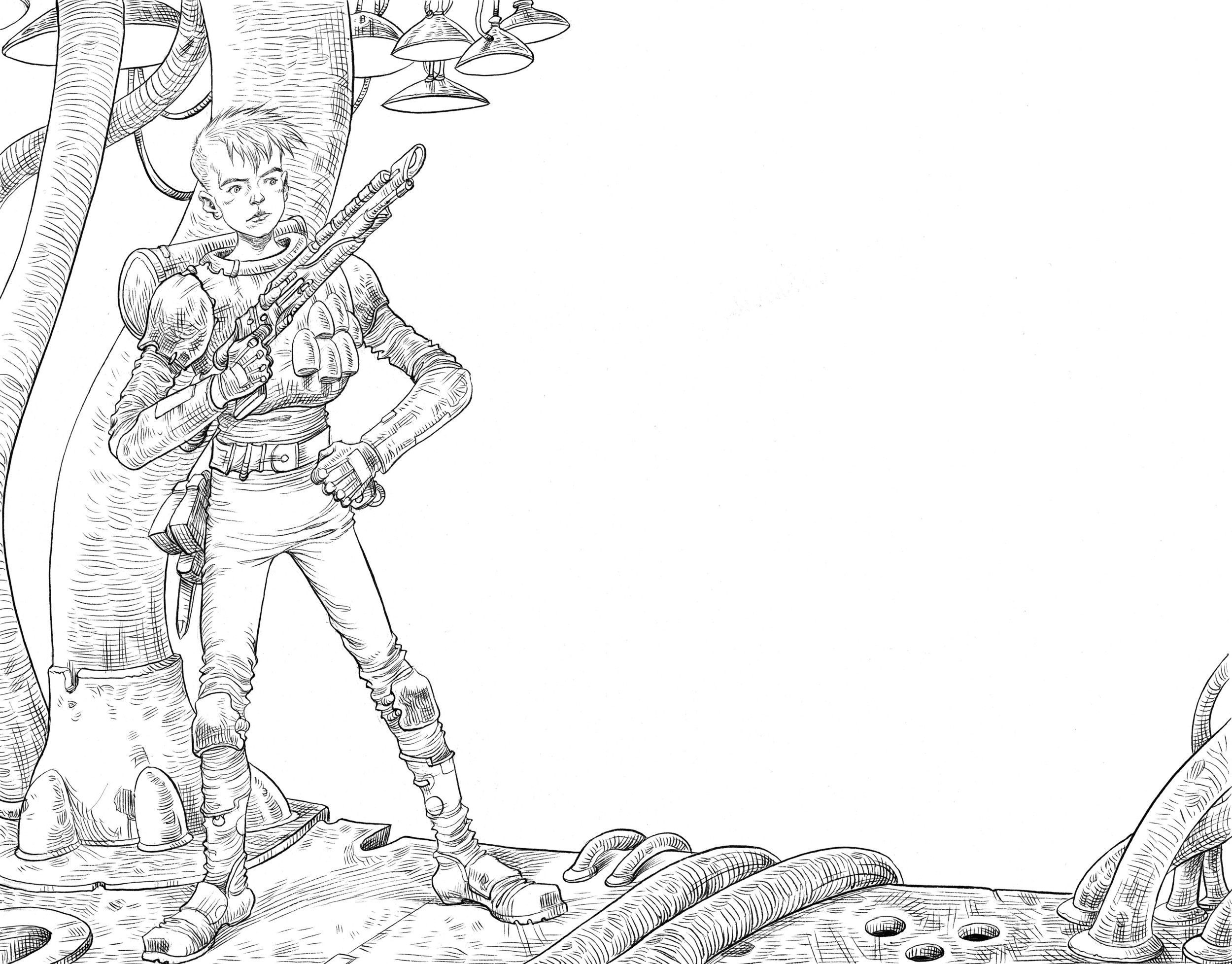 Introducing the hero of the Scavenger series, York © Chris Riddell 2014, taken from Scavenger: Zoid