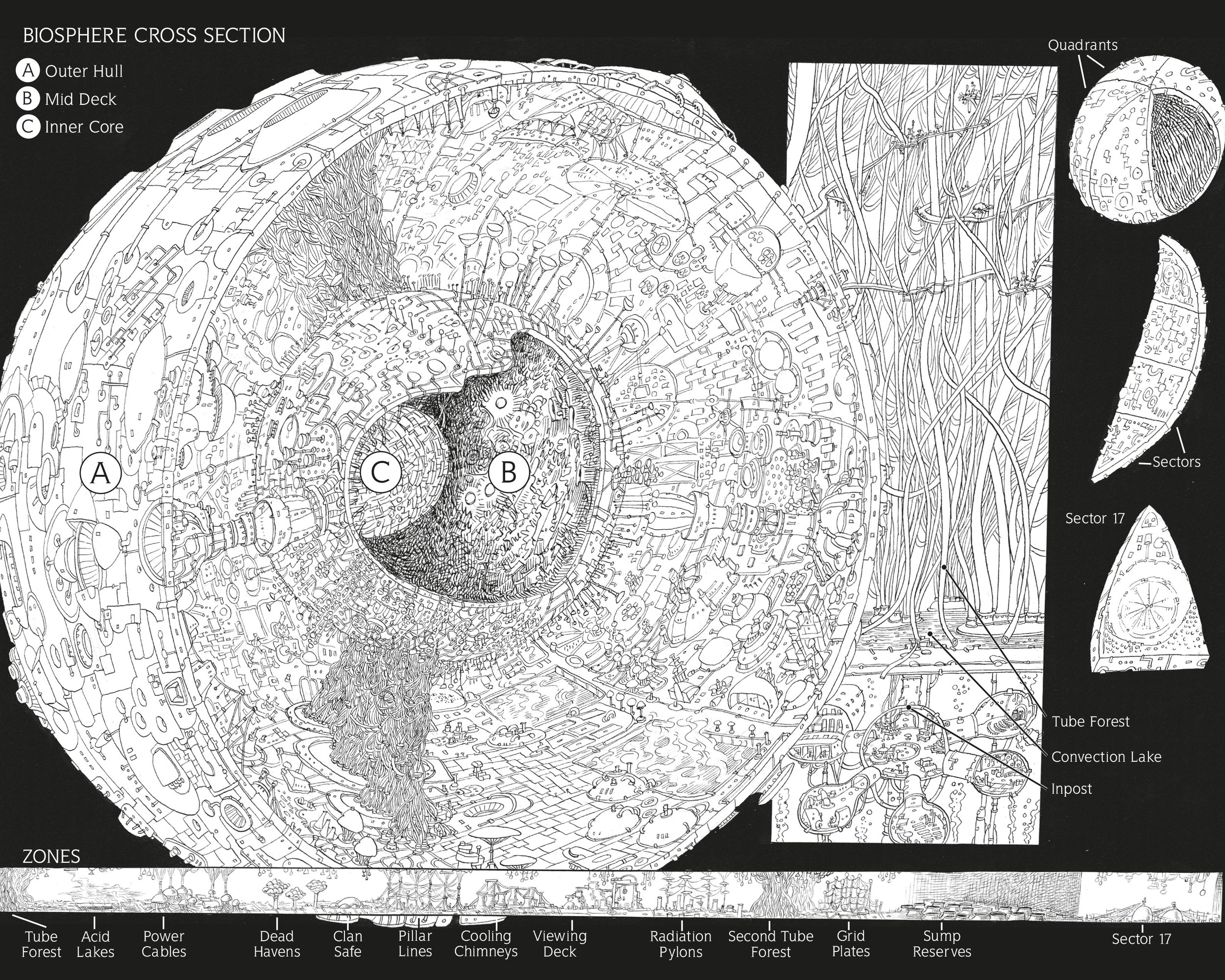 Cross section of the Biosphere © Chris Riddell 2014, taken from Scavenger: Zoid