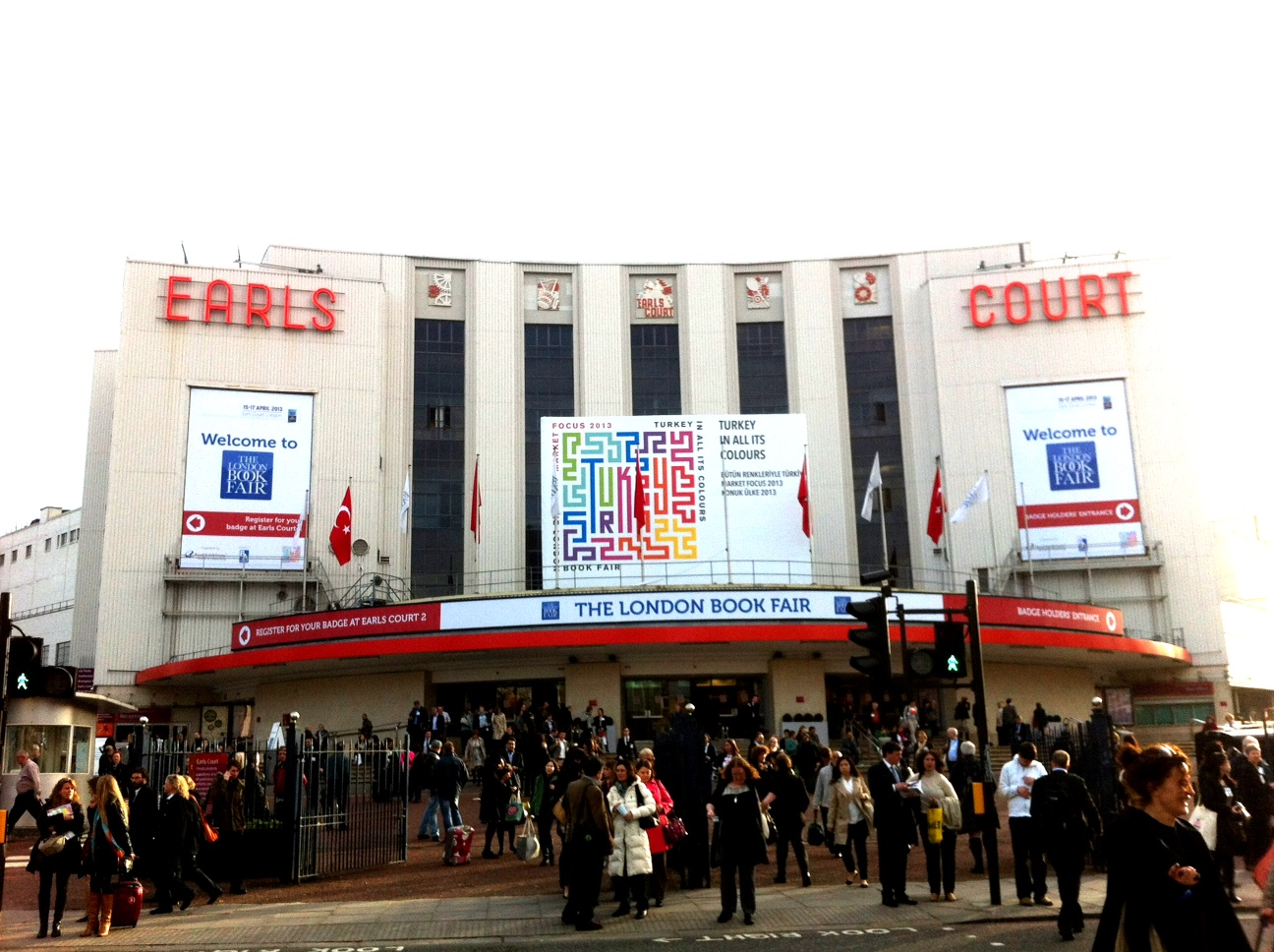 Outside the London Book Fair at Earl's Court