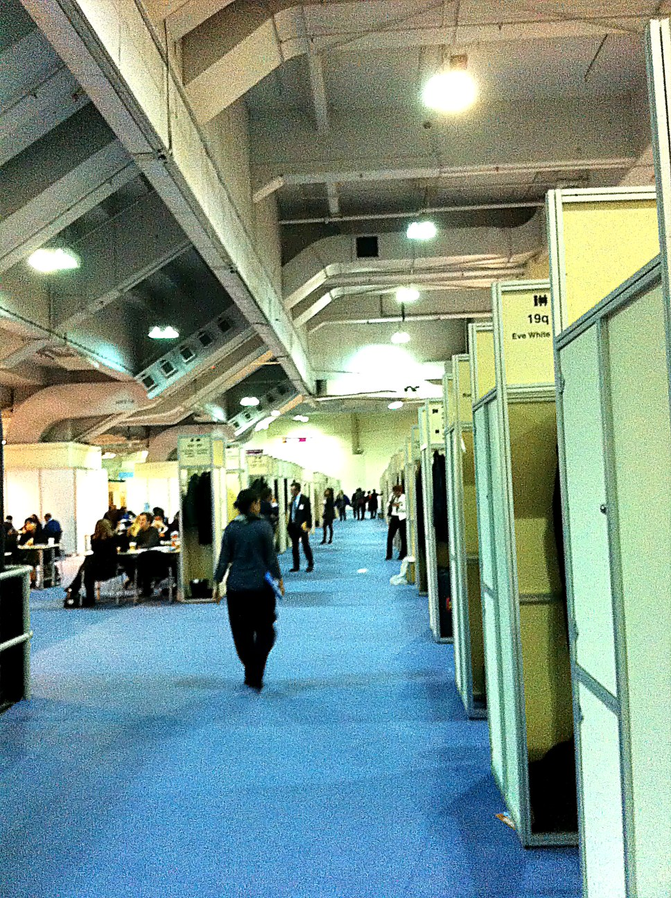 London Book Fair - upstairs in the Rights Centre - alphabetically numbered rows and numbered columns of tables