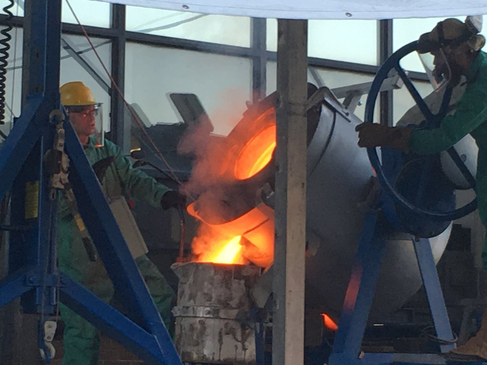 The bronze reaches 2000 degrees F and is ready to be cast into a new bell.