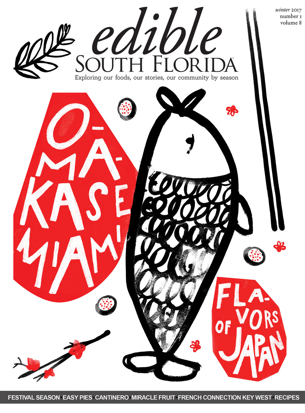 cover illustration for edible south florida; 2017