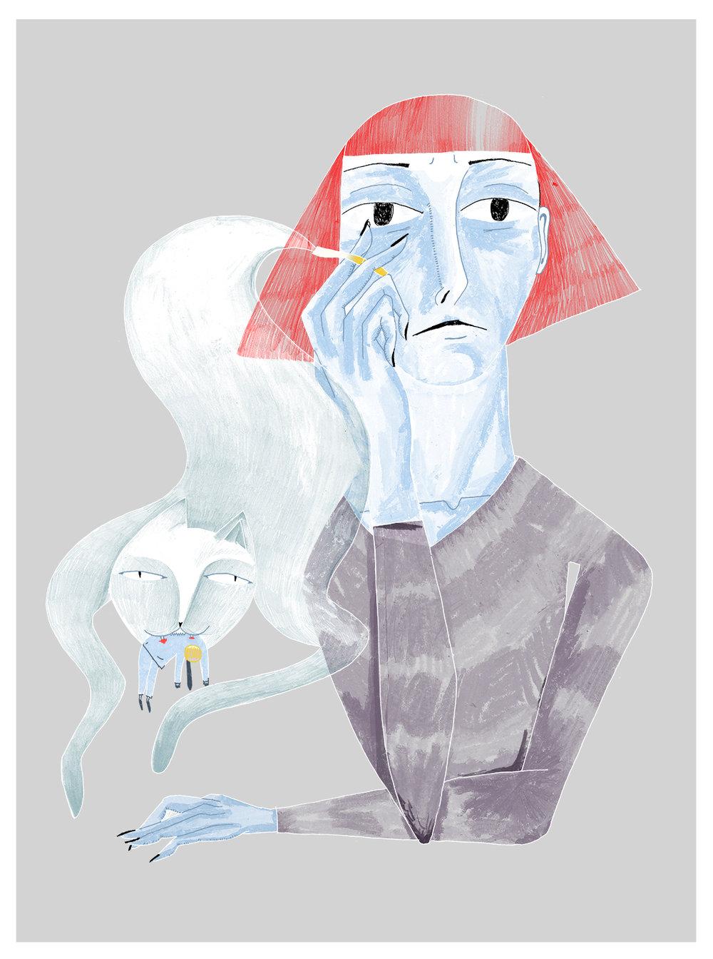 personal illustration; 2018; shown in red bull house of art, detroit, MI