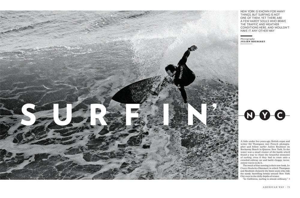 """Surfin nyc"" feature for american way, 2018 