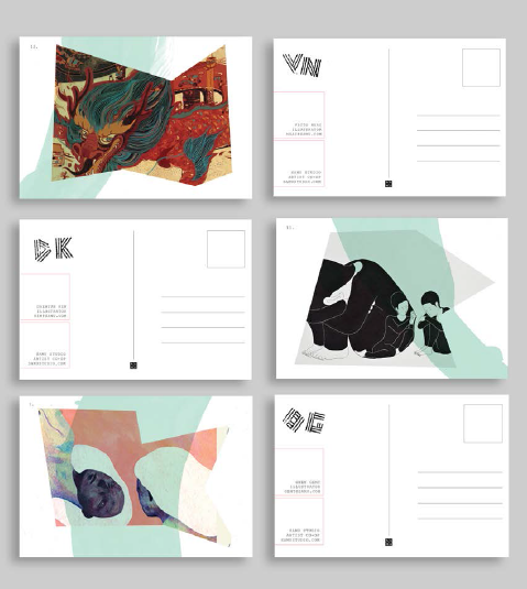 poster splits into promo postcards, stamped with custom letters