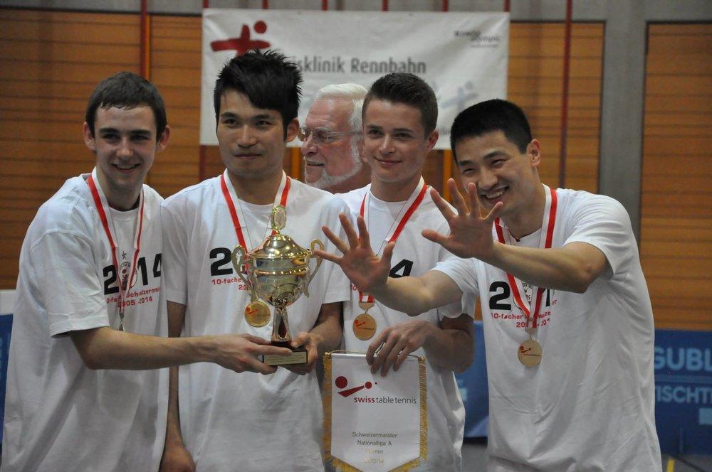 Weber beim Meistertitel 2014