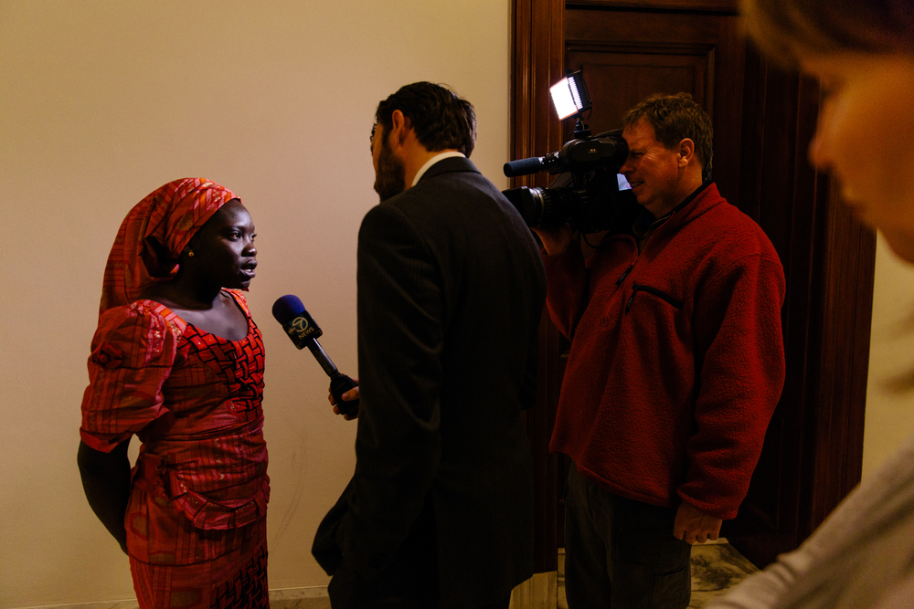 Washington, DC  / A young Nigerian girl is interviewed before meeting with members of Congress to tell the story of her escape from a Boko Haram kidnapping in In April, 2014.