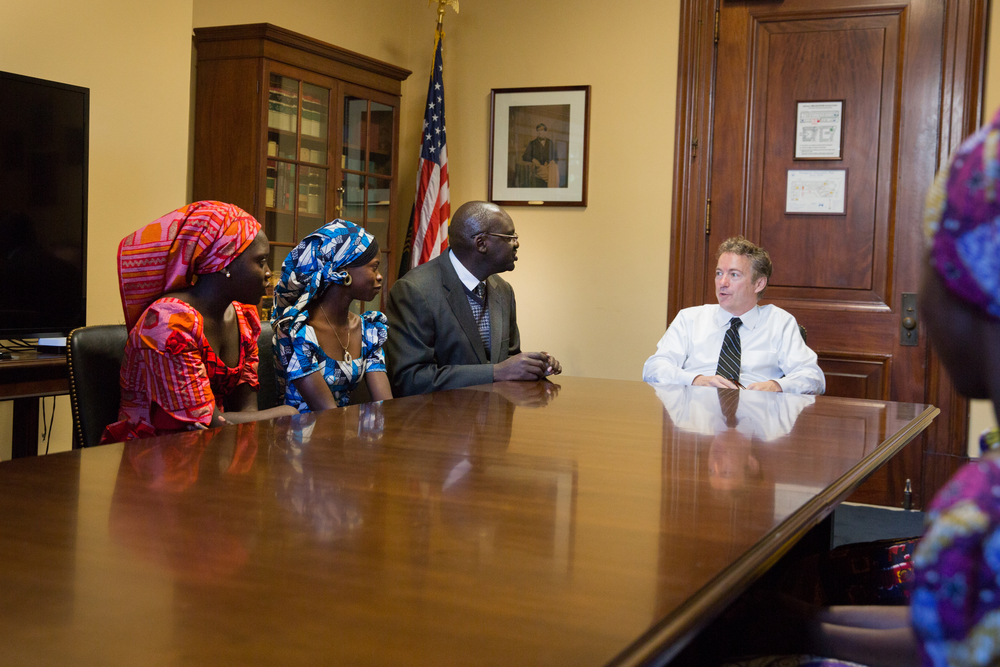 Washington, DC  /Representative Rand Paul (R-KY) meets with six students who escaped from the Boko Haram terrorist kidnappers in Chibok, Nigeria.