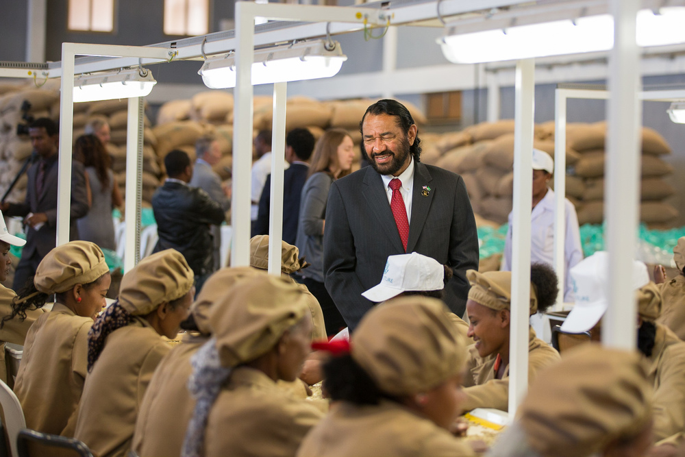 Ethiopia  / Representative Al Green (D-TX)visits Yirgachiffe coffee cooperative,supported by the USAID Feed the Future initiative, during President Obama's visit to Addis Ababa, Ethiopia.