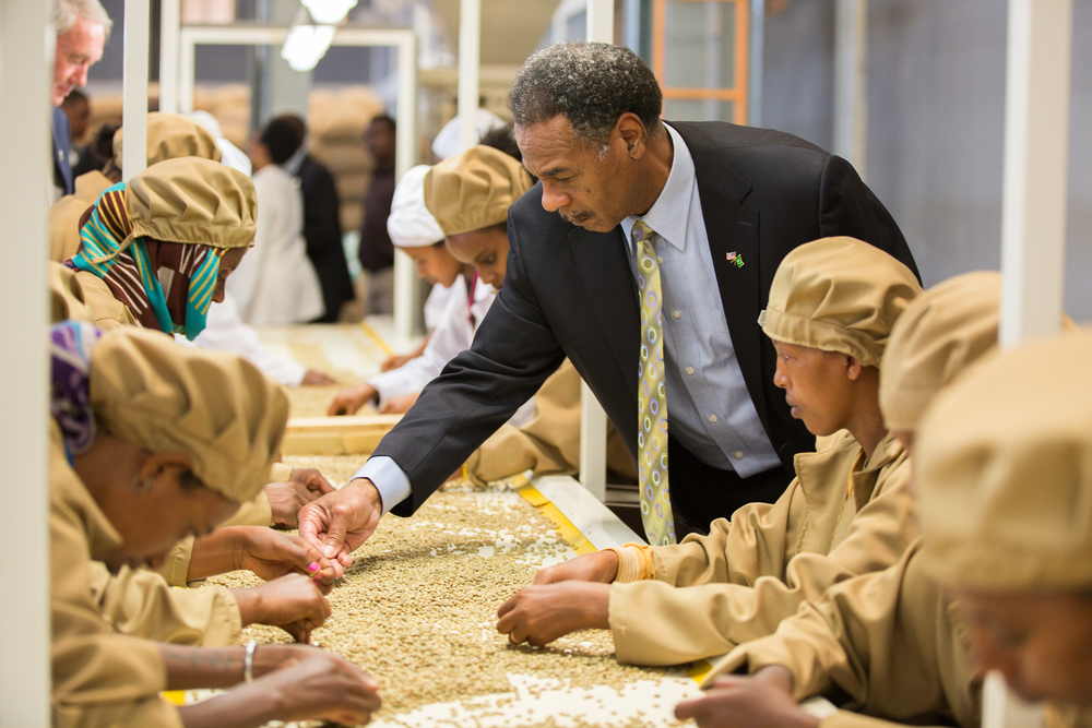 Ethiopia  / Representatice Emanuel Cleaver (D-Mo.) visits Yirgachiffe coffee cooperative,supported by the USAID Feed the Future initiative, during President Obama's visit to Addis Ababa, Ethiopia.