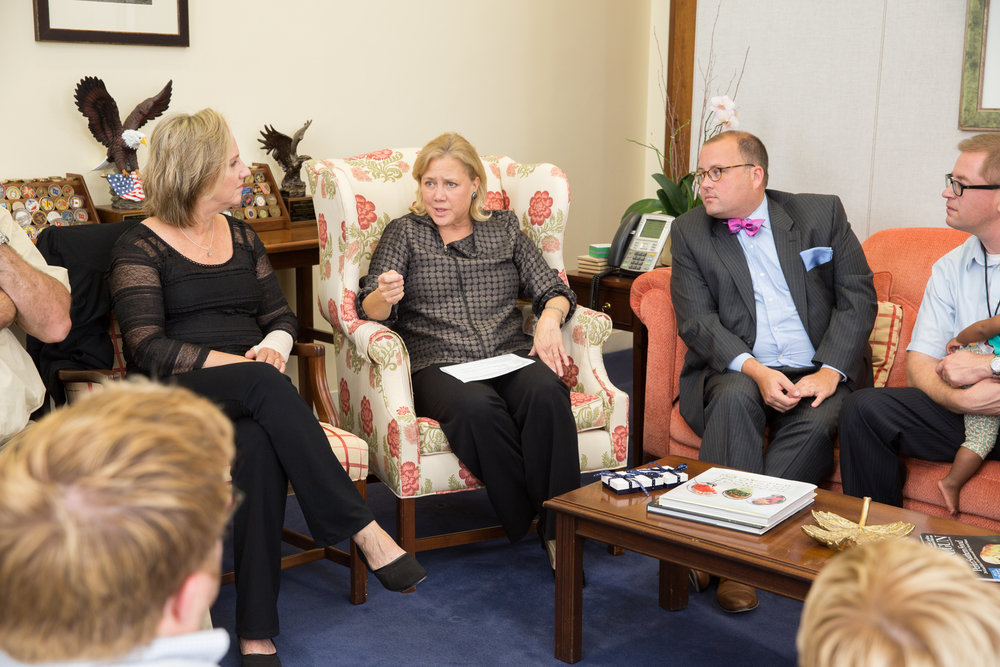 Washington, DC  / Representative Mary Landrieu (D-LA) meets with awardees of the Angels in Adoption award in her office.