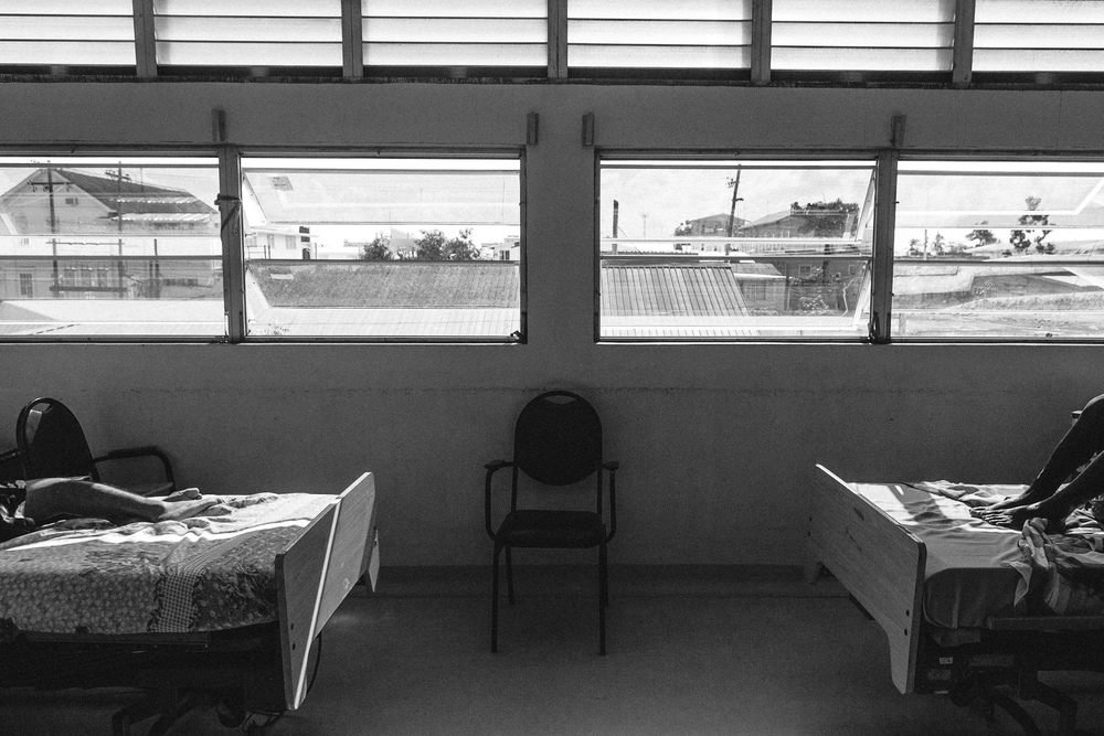Patients recover in their hospital rooms at Georgetown Public Hospital.