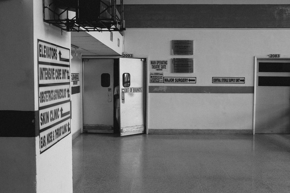 A hallway at Georgetown Public Hospital.