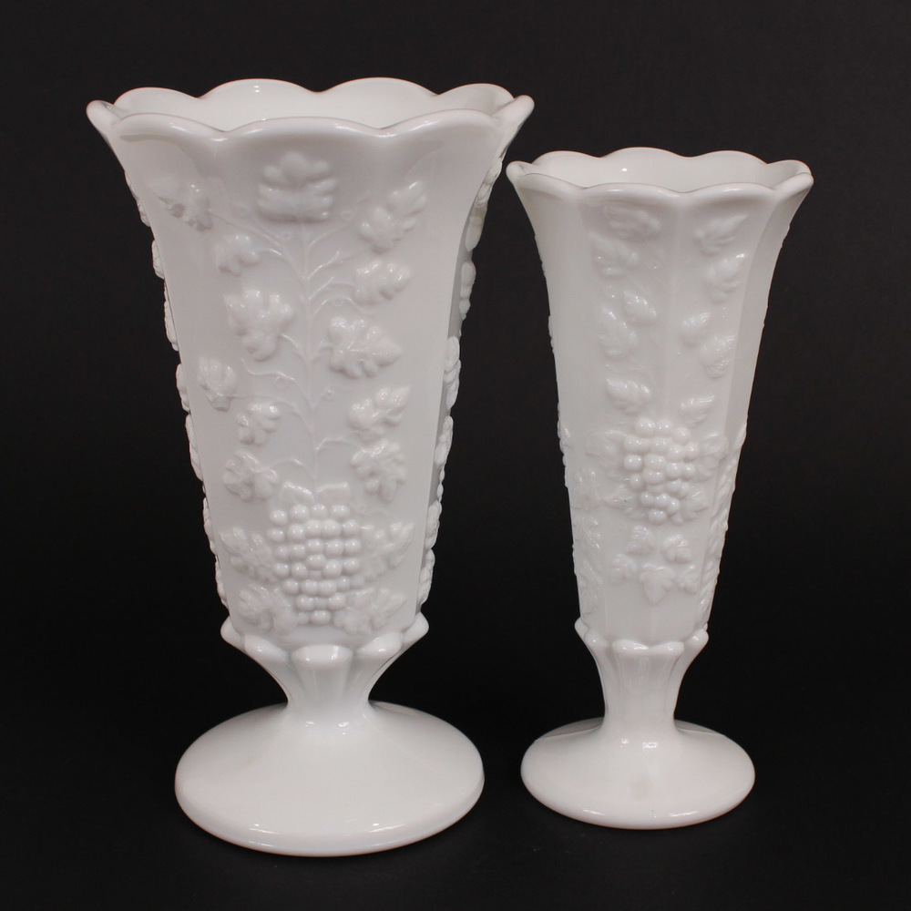 Matched sets the floral vase delightful grape clusters and vines adorn these vintage 1920s milk glass vases pretty paneled reviewsmspy