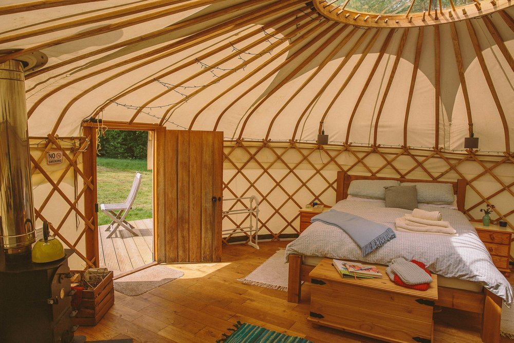 Inside Oak Tree Yurt