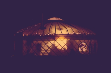 Hazelnut Yurt at night