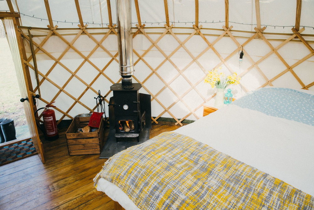 King size luxury bed and woodburner - perfect glamping comforts
