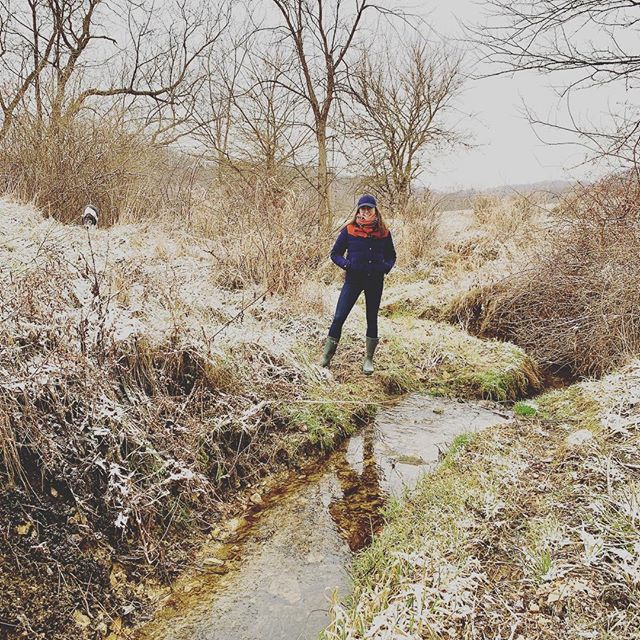 Snowy creek walks with my favorite two-legged and four-legged pals.
