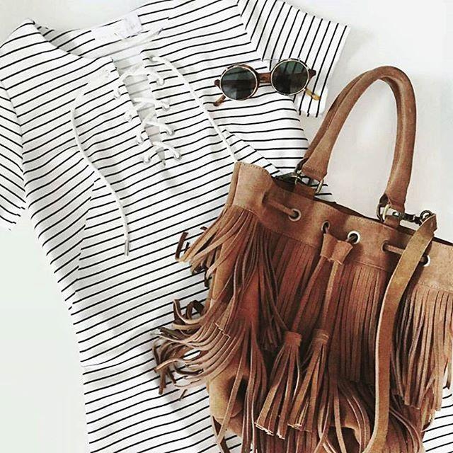 Mix it up.  We agree! this combo 🙌  #regram @amandauprichard  #Love the #Stripes & #Fringe combo courtesy of @shopgloriajewel  #MixItUp #Resort #MustHave #ShopTheLook #ootd #MadeInNYC #AmandaUprichard #boutique #fringe #madewithlove #mondrina #itbag