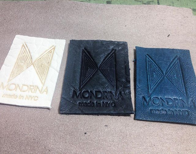 Logos getting stamped ✔️can't wait to get the new bags!! #handstamped #madeinnyc #ss16 #finishingtouches #mondrina