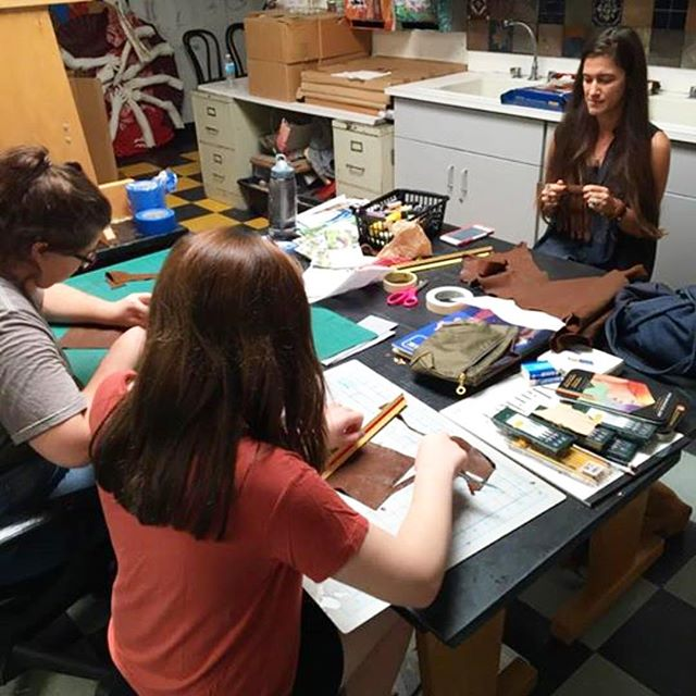 Loved teaching the students at Pierson high school how to make leather tassels #fashionclub  #tassels