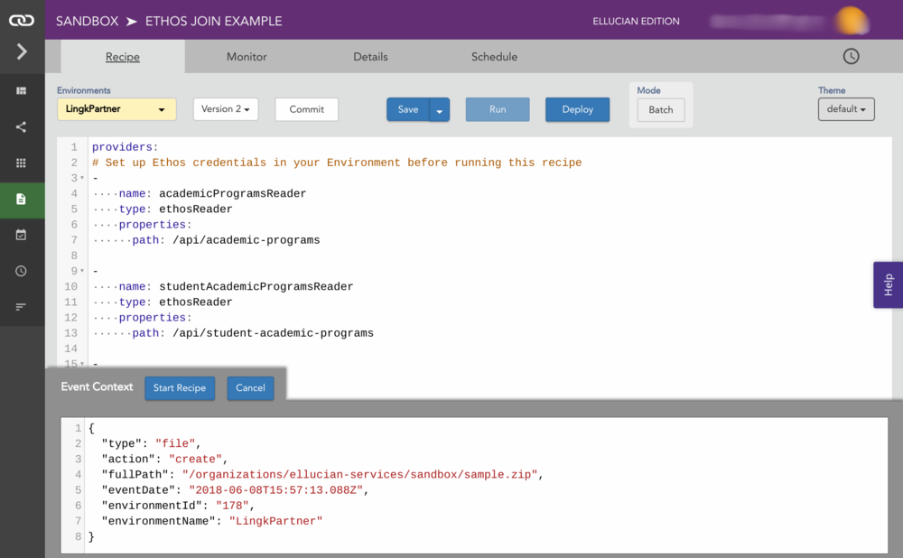 Recipe Editor - Use the power of SQL to join multiple Ethos APIs