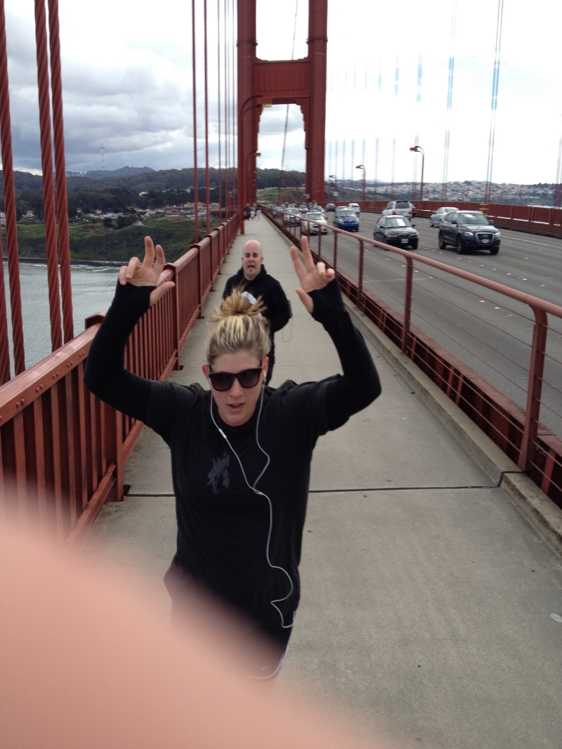 Running across the Golden Gate…yes this was a true action shot…note Kate's finger. Ha!