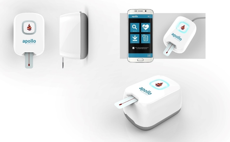 Concept of Apollo's at-home blood testing system that connects via Bluetooth to Smartphone for readout