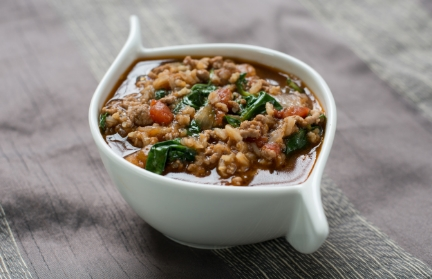 Spinach Tomato Lamb and Rice Soup