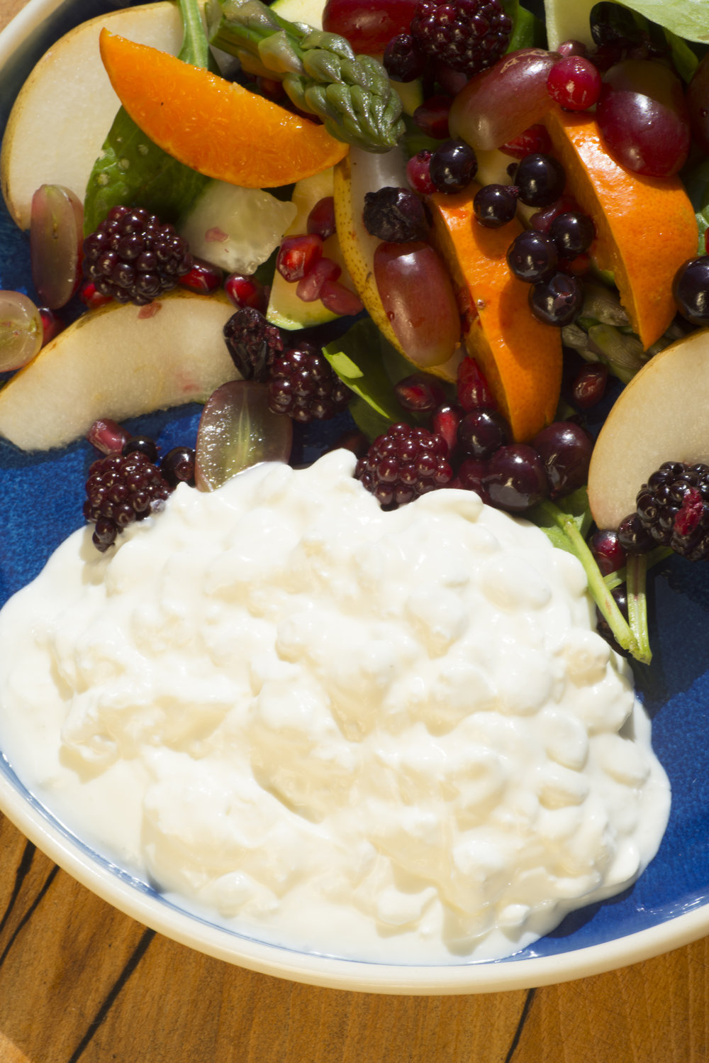 cottage cheese with fruit and vegetables