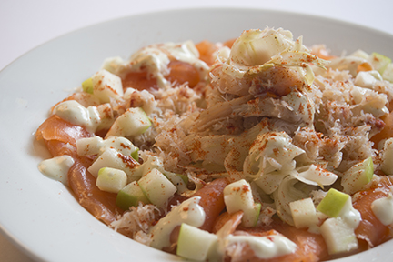 crab, salmon, avocado, fennel and apple salad