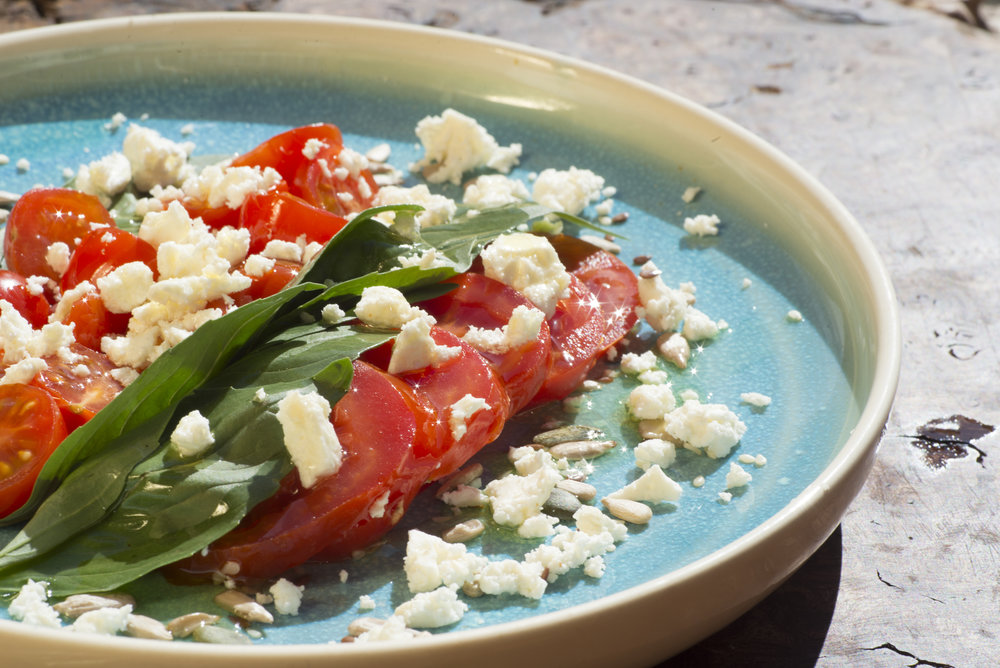 tomato, basil and feta salad