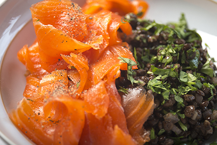 smoked trout and lentil salad