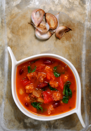 roasted red pepper, tomato and chorizo soup