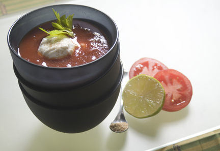 my very quick tomato soup sharpens up the palate and is great in a mug! the added dollop of yoghurt is inspired! see my recipe page...