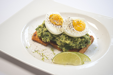 Soft Boiled Eggs with Sweet Potato and Avocado