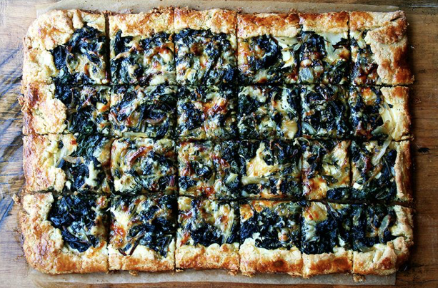 Slab Galette with Swiss chard and Gruyere -