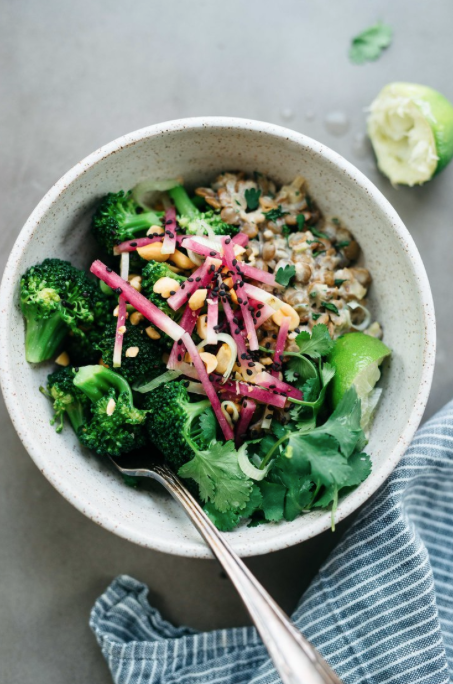 Spicy Broccoli Bowl with Creamy Ginger Lentils -