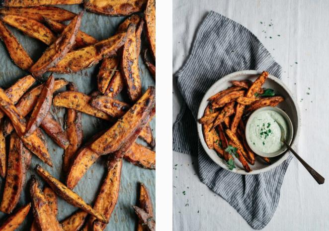 Roasted Sweet Potato Wedges w/ Green Yogurt Sauce -