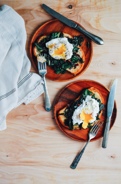 Poached Eggs and Rainbow Chard on Sourdough Toast -