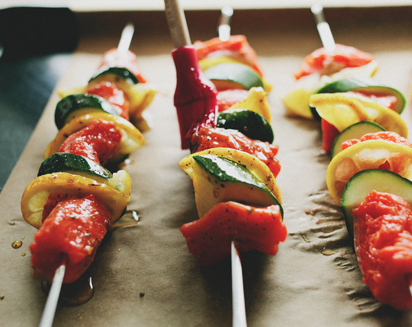 Salmon Skewers with Cucumber Yogurt Sauce -