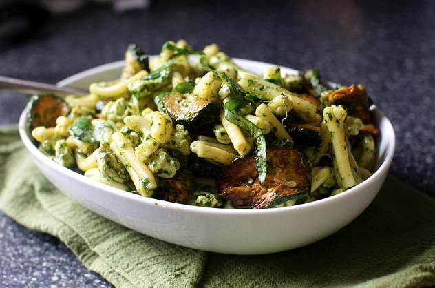 Pasta and Fried Zucchini Salad -