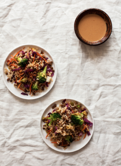 Quick Easy Brown Rice Lentil Stir Fry with Peanut Sauce -