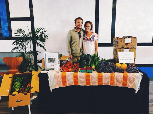 Jason and me with our farm boxes at LinkedIn in Carpinteria