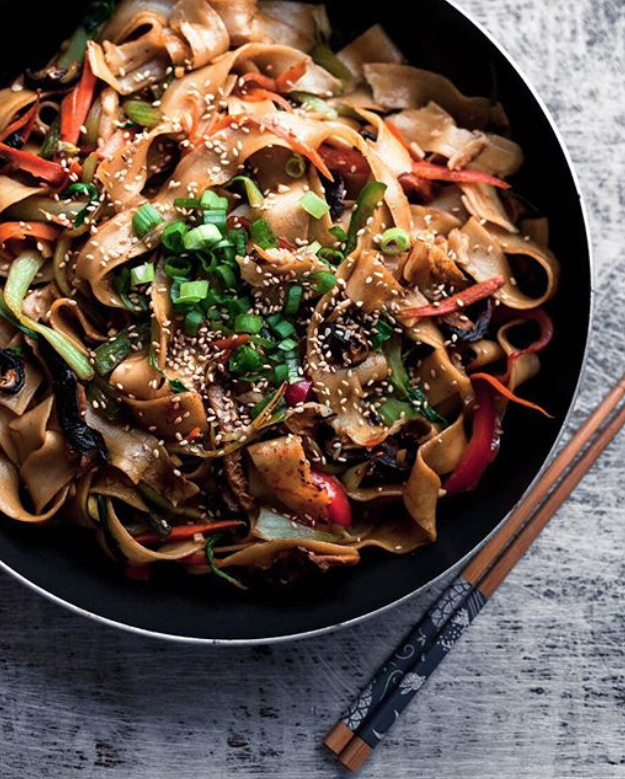 Noodle Stir Fry with Bok Choy, Mushrooms and Peppers -