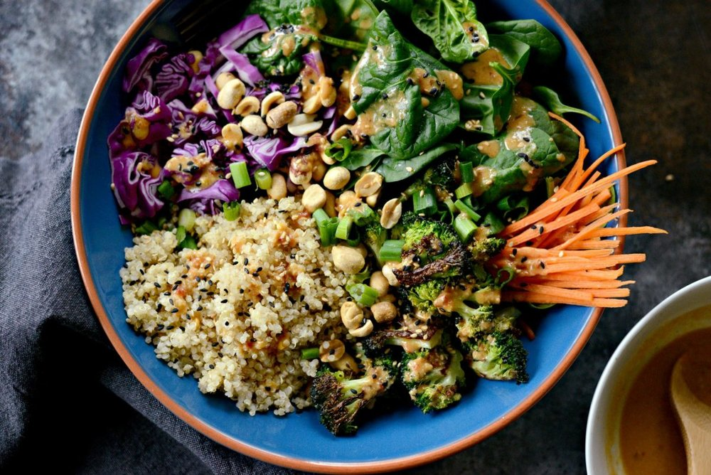Asian Charred Broccoli Quinoa Bowl -