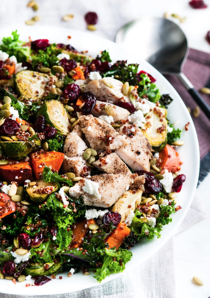 Roasted Brussel Sprout & Yam Quinoa Salad -