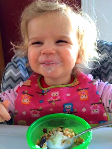 Niece Avery, with a Cherry Almond granola smile. Pure joy.