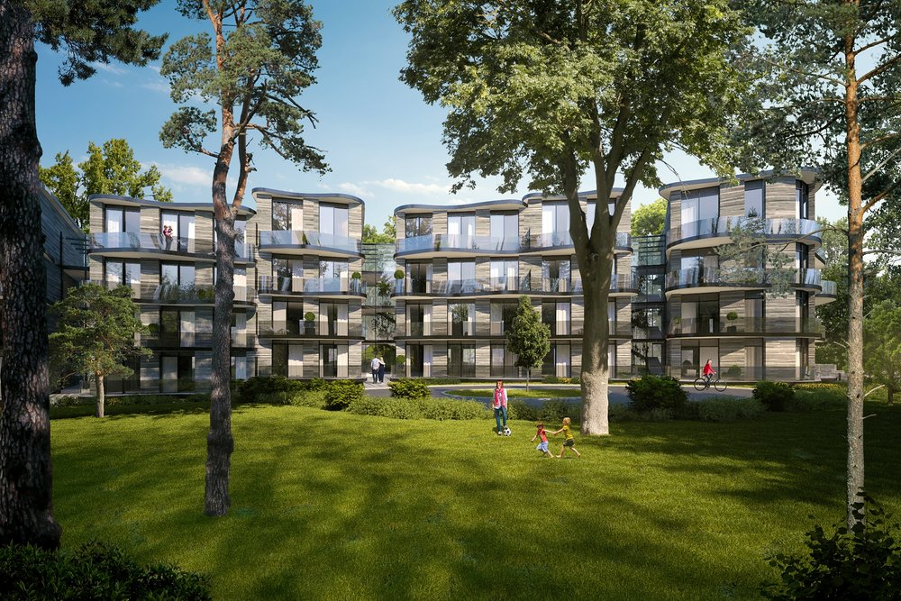 Castle Park   The scheme includes the provision of 50 new residential apartments within a series of 7 buildings that only occupy 23% of the site area, minimizing the impact on the existing woodland and trees on the site.