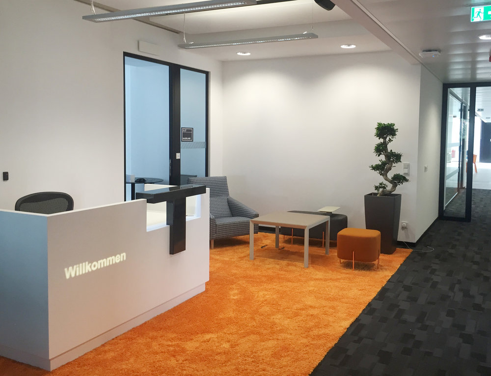 Indeed, Dusseldorf   MDO designed Indeed's new office for 180 staff in Dusseldorf. The office consists of three floors of reception, break-out areas, open plan desking, meeting rooms, phone booths, tea stations and canteen.